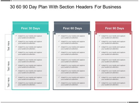 30 60 90 Day Plan With Section Headers For Business ...