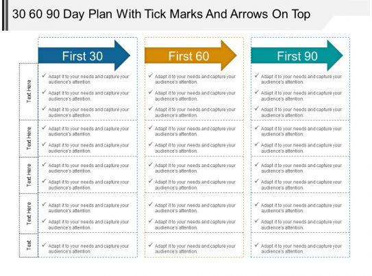 30 60 90 day plan with tick marks and arrows on top