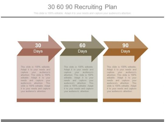 Professional Sales Slides Showing 30 60 90 Recruiting Plan