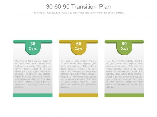 30 60 90 Transition Plan Powerpoint Templates | PowerPoint