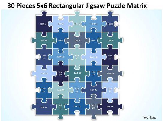 30 pieces 5x6 rectangular jigsaw puzzle matrix powerpoint templates