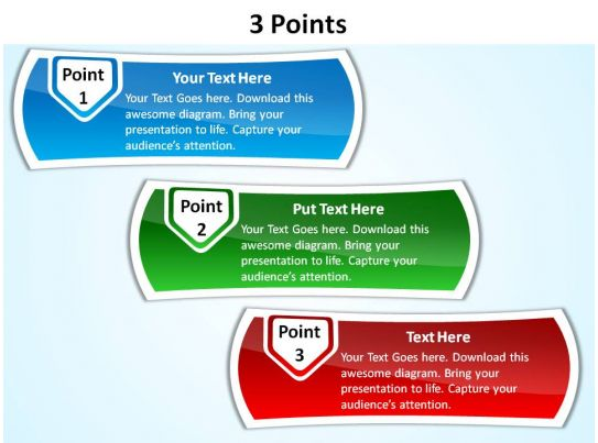 3 points with textboxes slides presentation diagrams templates