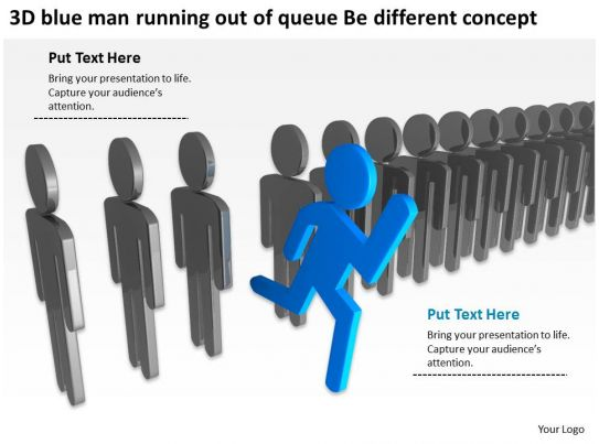 3d blue man running out of queue be different concept ppt