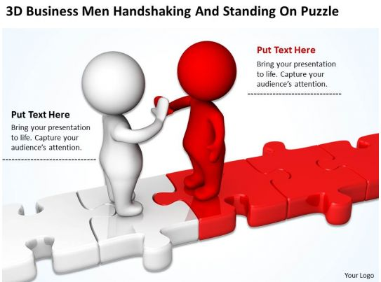 3d business men handshaking and standing on puzzle ppt graphics