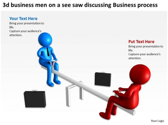 3d business men on a see saw discussing business process ppt graphic