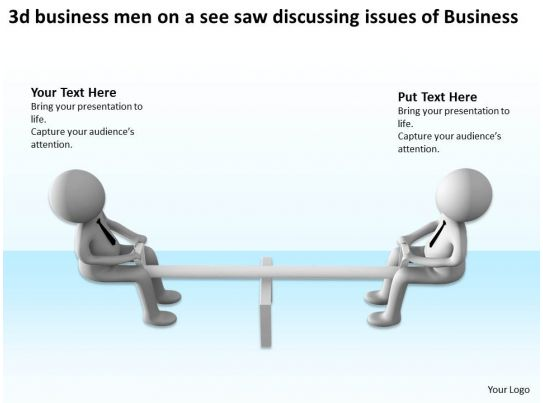 3d business men on a see saw discussing issues of business for Seesaw plans designs