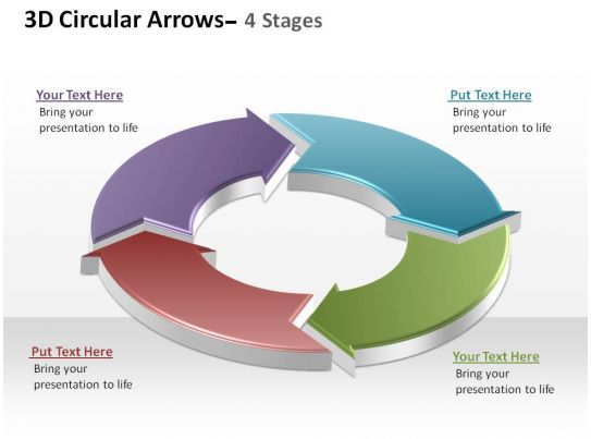 3D Circular Arrows Process Smartart 4 Stages Ppt Slides Diagrams