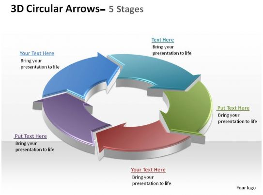 3d circular arrows process smartart 5 stages ppt slides