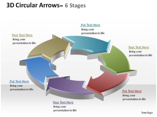 3d Circular Arrows Process Smartart 6 Stages Ppt Slides Diagrams