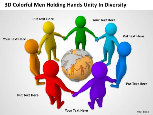 3d Colorful Men Holding Hands Unity In Diversity Ppt