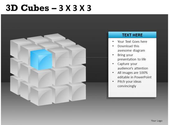 3d cubes 3x3x3 powerpoint presentation slides db