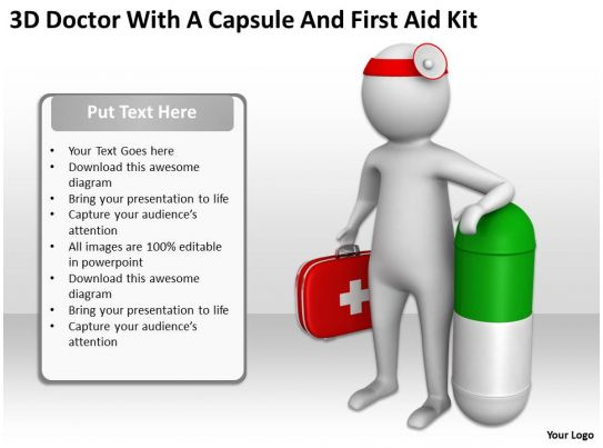 3d doctor with a capsule and first aid kit ppt graphics icons powerpoint. Black Bedroom Furniture Sets. Home Design Ideas