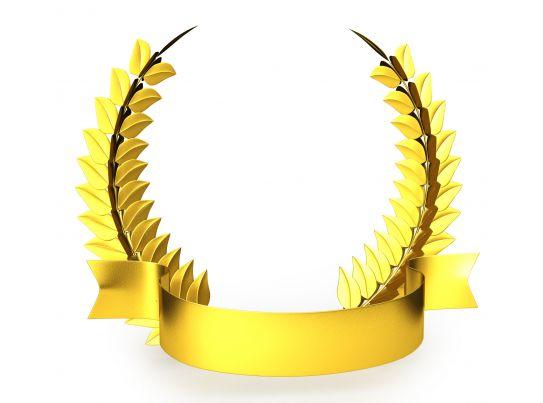 3d golden trophy laurel design stock photo