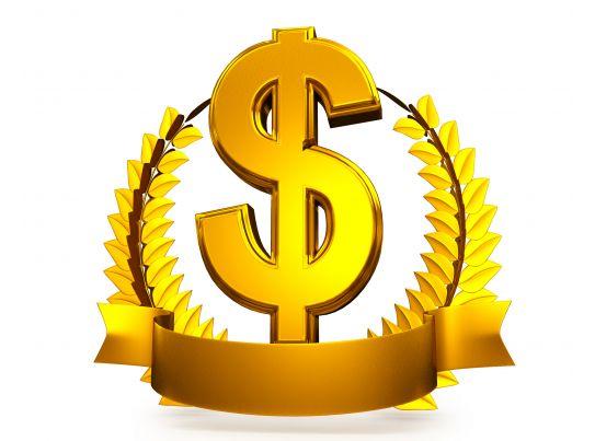 3d golden wreath around dollar symbol as winner award