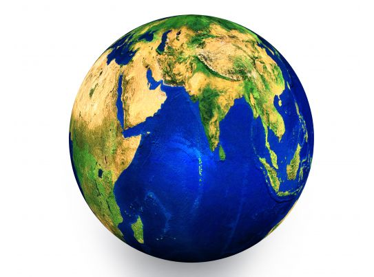 3d graphic of globe showing concept of geography stock