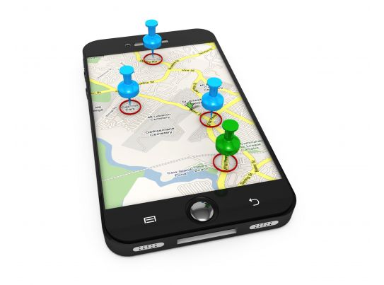 3D Graphic Of Map On Mobile With Clipart Pins Stock Photo ...