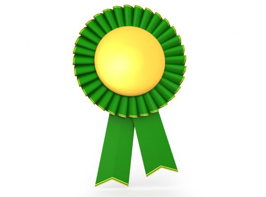 3d Green Yellow Batch Ribbon Of Success Stock Photo
