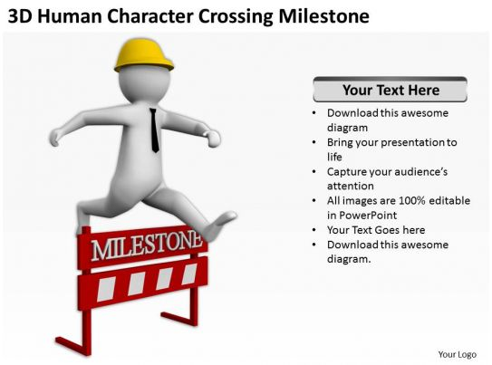 Character Design Presentation : D human character crossing milestone ppt graphics icons