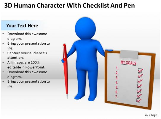 3d Human Character With Checklist And Pen Ppt Graphics