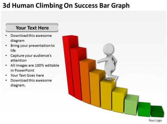 3d human climbing on success bar graph ppt graphics icons
