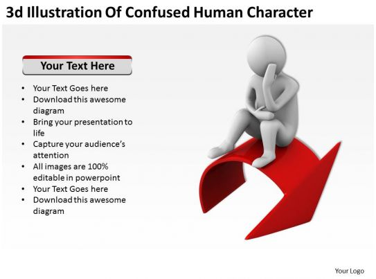 Character Design Presentation : D illustration of confused human character ppt graphics