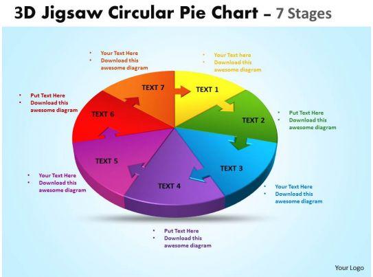 3d Jigsaw Circular Pie Chart Diagram Powerpoint Templates