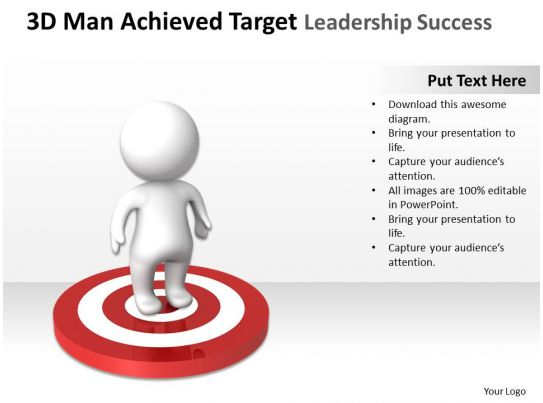 3d man achieved target leadership success ppt graphics