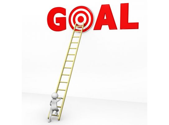 3D Man Climbing Ladder For Reaching On Goal Stock Photo ...