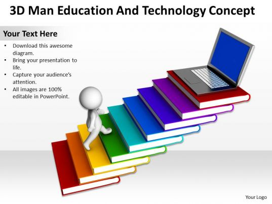 3d Man Education And Technology Concept Ppt Graphics Icons