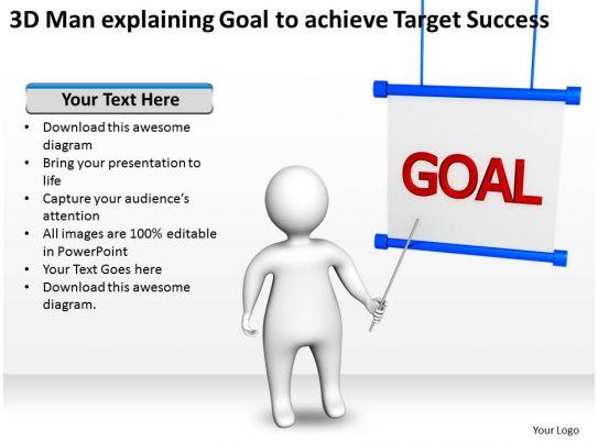 3d Man Explaining Goal To Achieve Target Success Ppt
