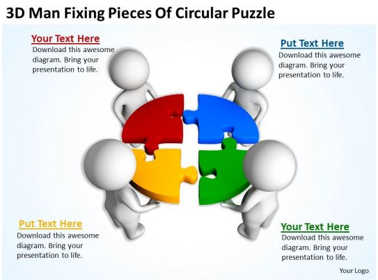 3d man fixing pieces of circular puzzle ppt graphics icons