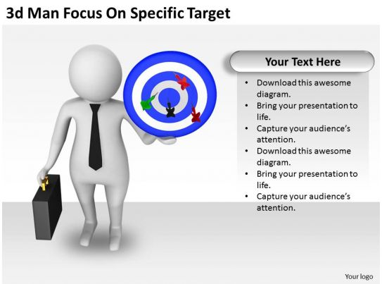 3d man focus on specific target ppt graphics icons