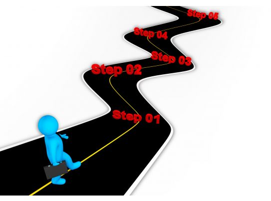 3d Man Following Roadmap For Success Stock Photo