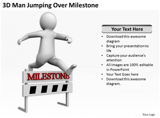 3d Man Jumping Over Milestone Ppt Graphics Icons