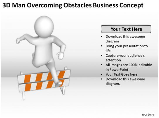 3d man overcoming obstacles business concept ppt graphics