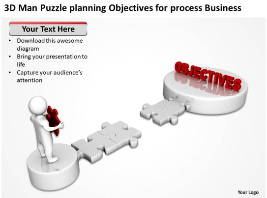 3d man puzzle planning objectives for process business ppt
