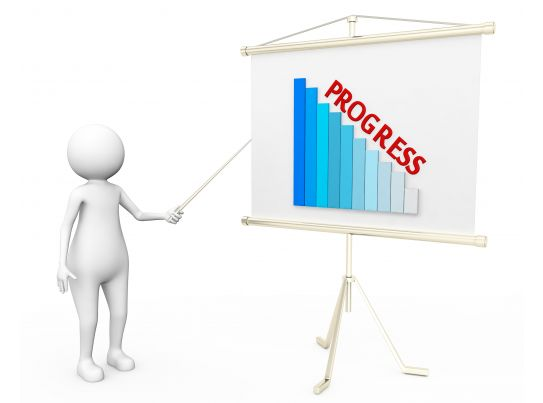3d man showing graph bar with progress on flip chart stock