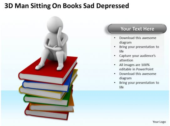 3D Man Sitting On Books Sad Depressed Ppt Graphics Icons ...