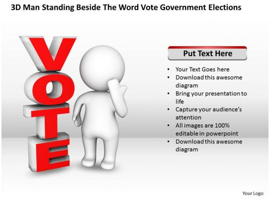 3d man standing beside the word vote government elections