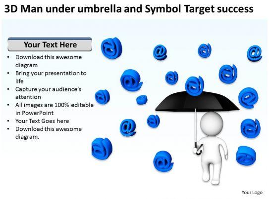 3d Man Under Umbrella And Symbol Target Success Ppt Graphics Icons