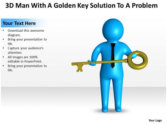 3d man with a golden key solution to a problem ppt graphic