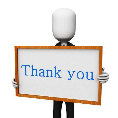 3d Man With Thank You Text Board Stock Photo Powerpoint