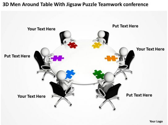 3d men around table with jigsaw puzzle team work