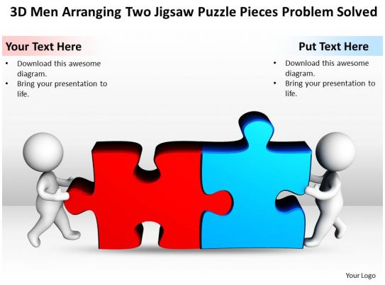3d Men Arranging Two Jigsaw Puzzle Pieces Problem Solved Ppt Graphics Icons Slide01