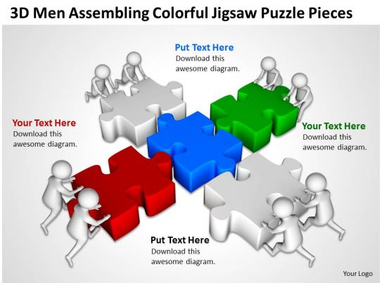 3d men assembling colorful jigsaw puzzle pieces ppt graphics icons powerpoint. Black Bedroom Furniture Sets. Home Design Ideas