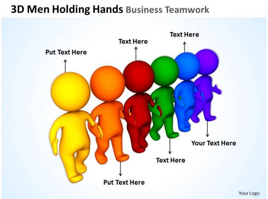 3D Men Holding Hands Business Teamwork Ppt Graphics Icons