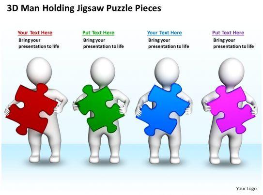 3d Men Holding Jigsaw Puzzle Pieces Business Concept Ppt
