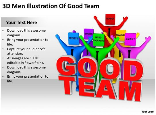 3d men illustration of good team ppt graphics icons for Team building powerpoint presentation templates