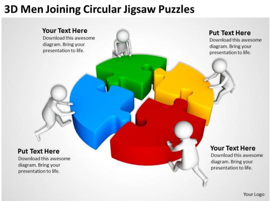 3d Men Joinning Circular Jigsaw Puzzles Ppt Graphics Icons