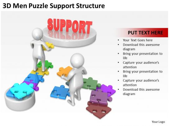 3d men puzzle support structure ppt graphics icons